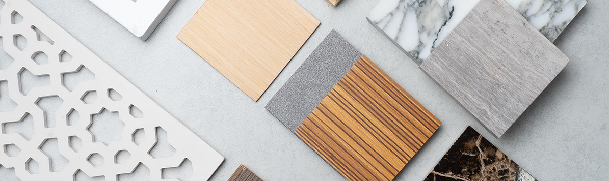 Samples,Of,Material,,Wood,,,On,Concrete,Table.interior,Design,Select